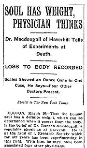 MacDougall's experiments in New York Times
